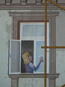 Gemälde von einer Frau beim Fensterputzen