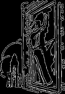 Skizze eines Mannes beim Fenster Putzen